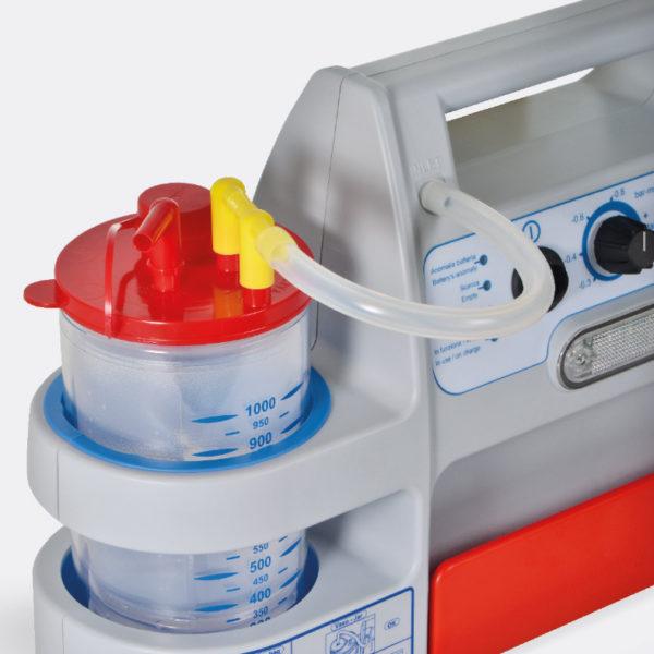 Miniaspeed battery evo. Aspirador portátil de secreciones para uso hospitalario y emergencia. Saca monouso para secreciones